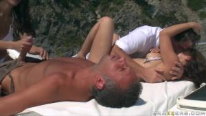 Hot big-tit brunette French sluts fucked hard in gang-bang on boat