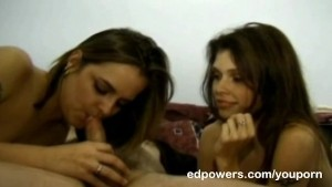 Two chics cleaning Ed's cock with their tongue