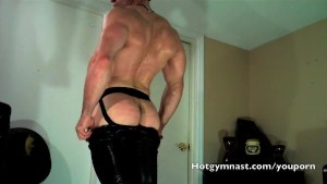 Leather Cum with muscle stud in jockstrap