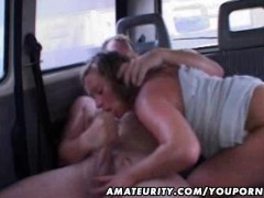 Mature amateur wife sucks and fucks in a car with facial