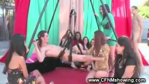 Contestant gets fucked in sex swing by horny girl