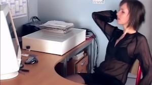 Brunette masturbates in sheer stockings and heels