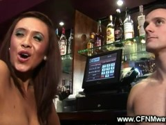 Behind the bar handjob from the eager pub visitors