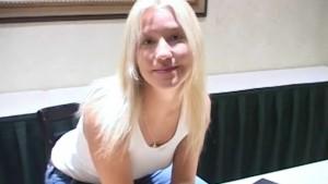 Cute Blonde Gives Handjob in Hotel Room
