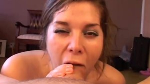 Cute chubby honey gives a sloppy blowjob
