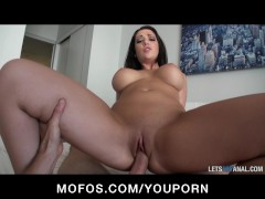 Big-boobed brunette girlfriend Melina Mason tries anal on camera