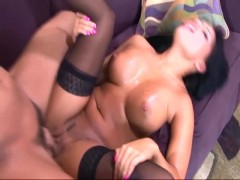 Busty Eva sex in stockings panties and a garter