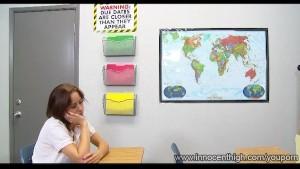 InnocentHigh Small tits brunette schoolgirl Mae Meyers hardcore classroom sex