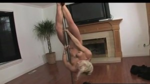 Athletic Blonde Pole Dancing
