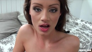 Horny young slut Sophie Lynx strips off her dress and takes big-dick