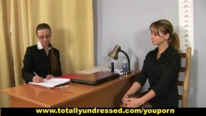 Sweet girl double penetrated during job interview
