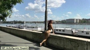 Hot redhead tereza naked on public streets