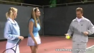 Horny tennis girl Sharon Wild threesome fuck with instructor