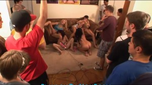 Group of college guys break into a sorority lesbian orgy