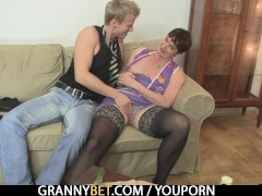 Picture Naughty granny jumps on stiff meat