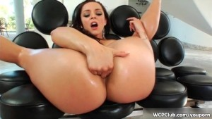 Busty brunette gets her ass and cunt banged by a big black cock