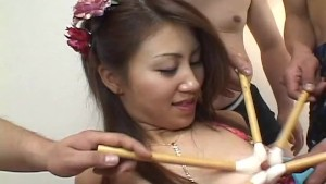 Furry Japanese pussy shaved clean and fucked by guys