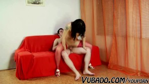 HE ENJOYS WHILE MATURE LADY RIDES HIM