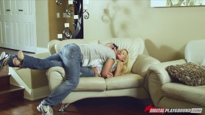 Horny blonde bombshell Riley Steele rips her man's clothes off