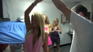 Slutty blonde college girl starts dorm room orgy