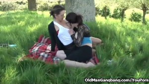 Outdoor foursome on a blanket