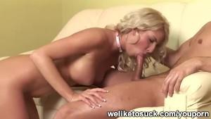 Blonde girl giving blowjob