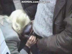 Kinky blonde blows cocks out of the car