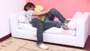 Handsome gay couple barebacking