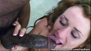 Hairy Pussy Babe In An Interracial