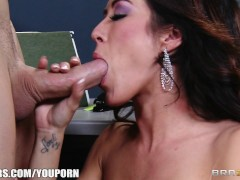 Capri Cavanni sneaks out of office party & deepthroats big-dick