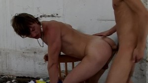 Two young gay guys having sex then jerking off their cocks outdoors