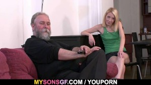 Old dad forces his son's GF suck his dick