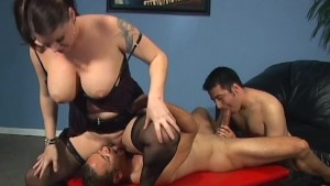 Busty Latin fucks two bisexuals