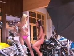 Two hot biker chicks posing - Julia Reaves