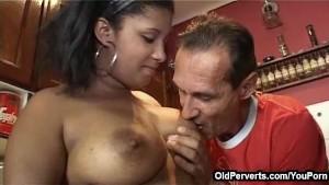 Old perv fucking ebony nubile