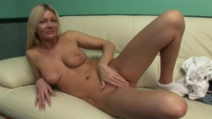 Busty blonde milf has some fun on the couch - DreamGirls