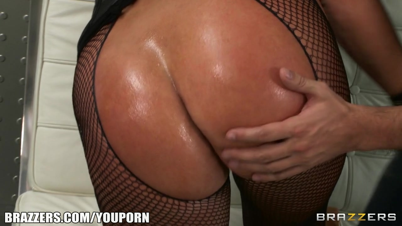 Big-booty blonde in fishnets loves being fucked hard in her ass