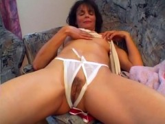 Older woman rubs herself and gets felt up - Sascha Production