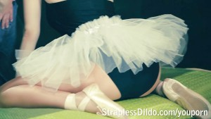 Naughty ballerina strapon pounded
