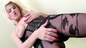 Sex in a sheer lacey crotchless body stocking