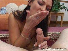 Picture Hot Brunette Irena Sky Strips And Jerks Off...