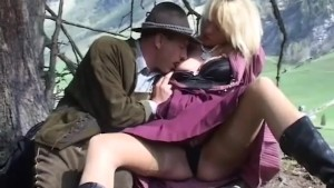 busty MILF outdoor anal