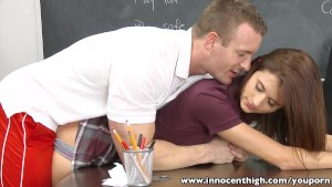 InnocentHigh Smalltits schoolgirl teen rides teachers cock