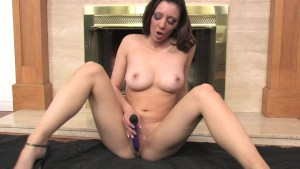 Sexy brunette has an orgasm in front of the fireplace - Mavenhouse