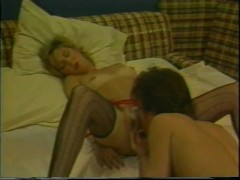 Blonde babe gets guy to eat her hairy pussy - Classic X Collection