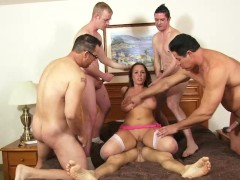 Gorgeous brunette gets her first gangbang... and ask for more- Homemade Med