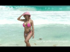 Karla Carrillo in a pink hat