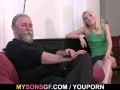 He leaves and she sucks his dad's cock