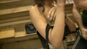 Gorgeous amateur is paid cash strip & fuck in the back of a store
