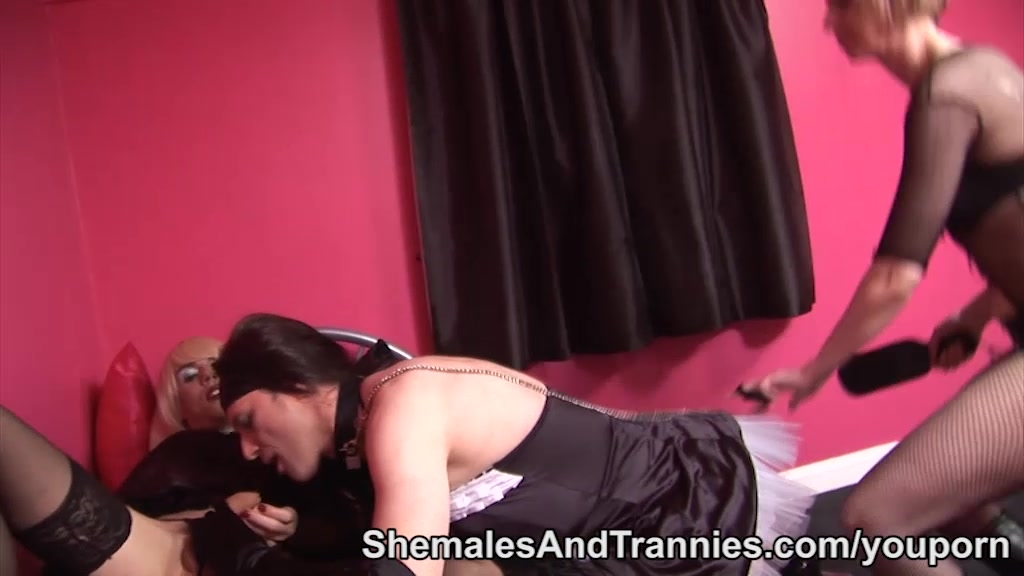 Female mistress with two shemales